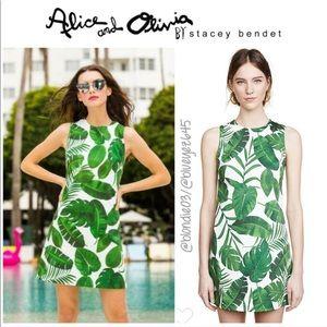 "Alice + Olivia ""Coley"" tropical leaf print dress 6"